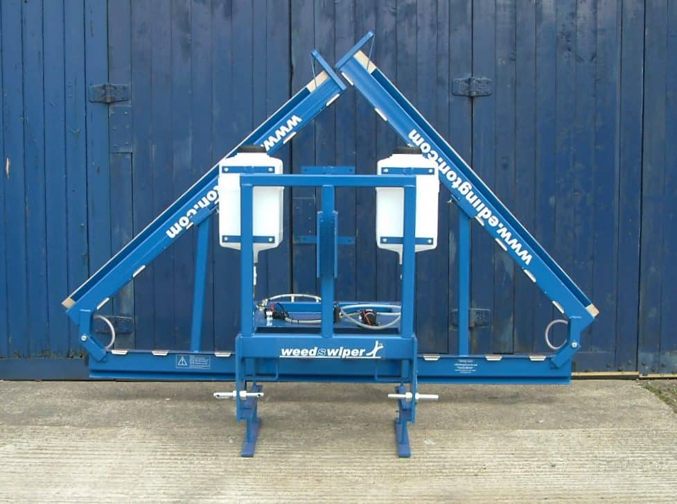 Edlington Front Mounted WeedSwiper (weed wiper) back view in transport posiiton